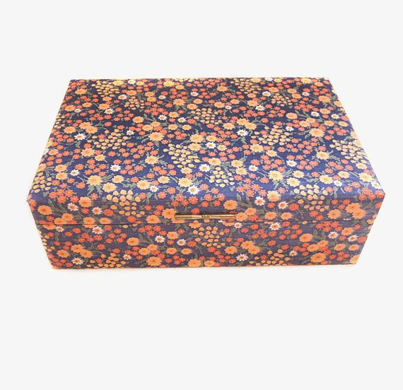Vintage Jewelry Box Gunther Mele Fabric Covered Etsy Vintage