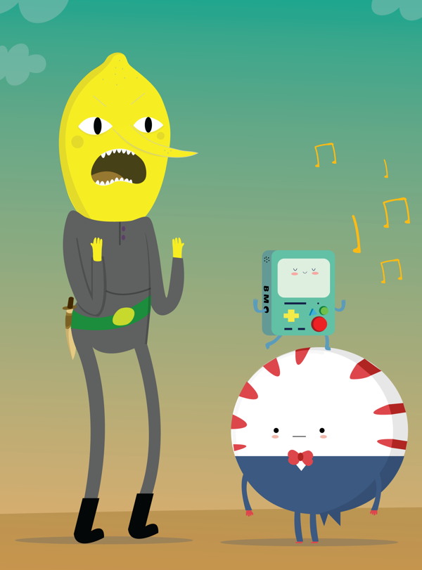 Adventure time by MJ Da Luz, via Behance Tags: Adventure Time, Lemongrab, Peppermint Butler, Pep-But, BMO