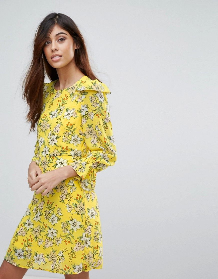 Buy it now. Vero Moda Floral Shift Dress - Yellow. Dress by Vero Moda,  Lined woven fabric, All-over floral print, Round neck, Ruffle shoulders, ...