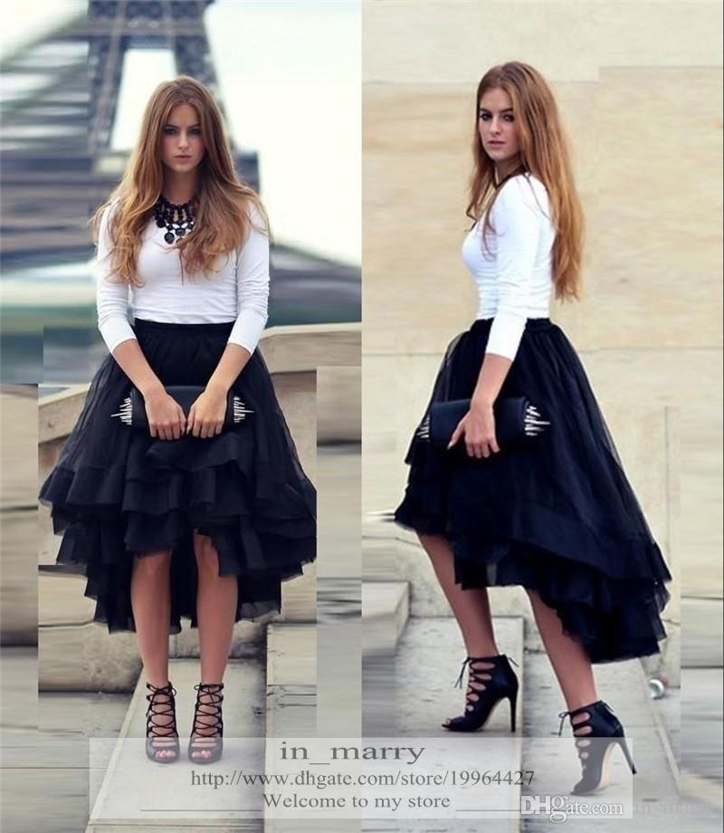 8e765de691 Wholesale cheap pink tutu skirt brand -2016 navy blue high low short tutu  skirt for women flouncing ruffles multiple layers new fashion street formal  party ...