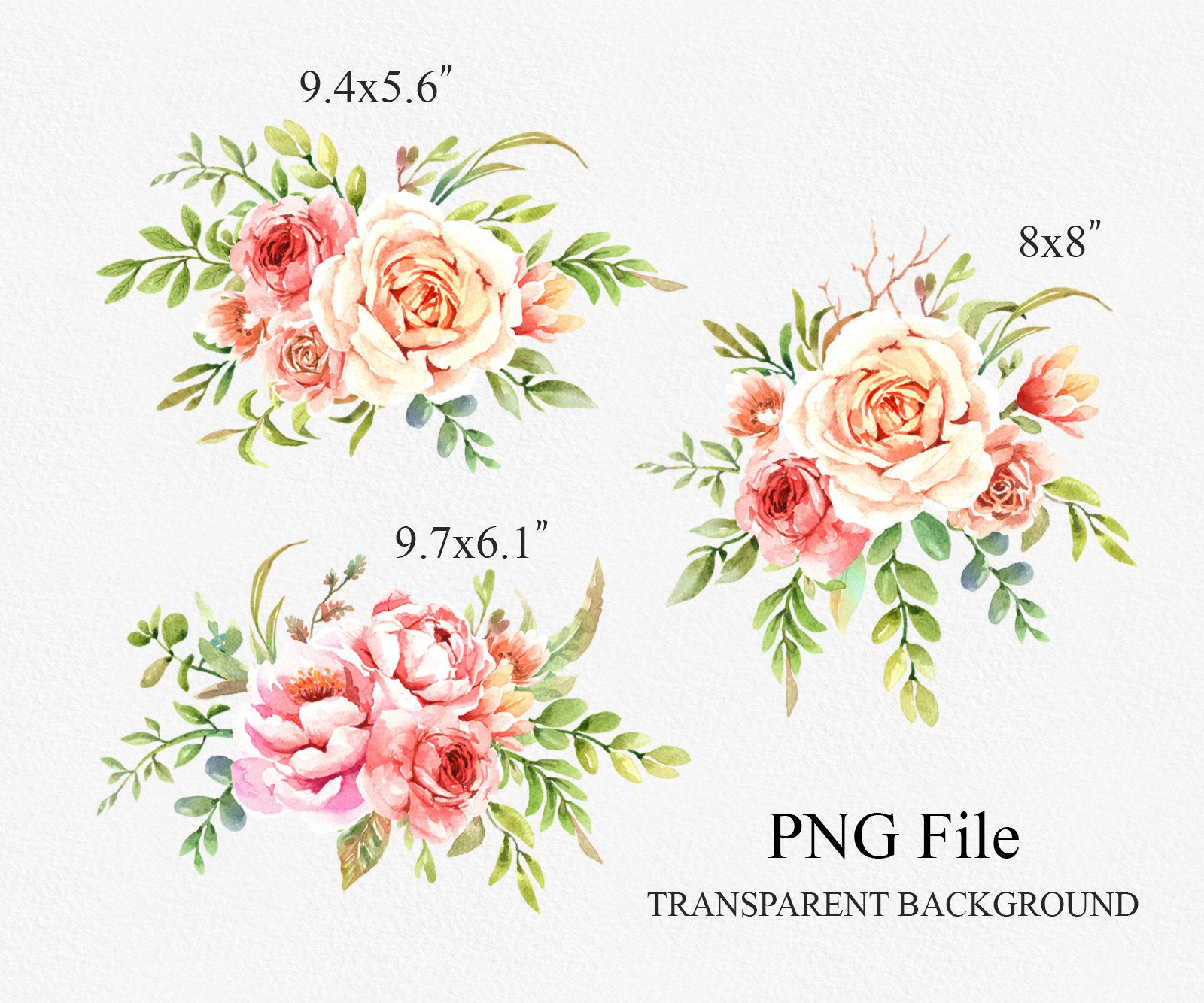 Flower Watercolor Clipart Bouquets Frames And Etsy Hand Painted