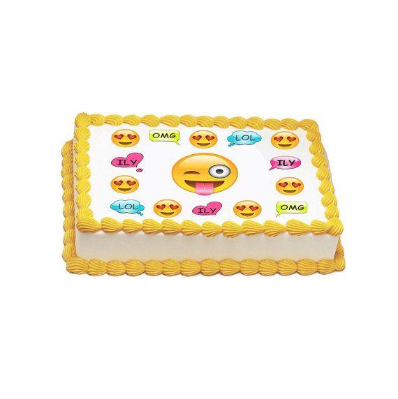 Cake Designs Emoji : Edible Emoji Party Icing sheet by TlcEdibles on Etsy ...