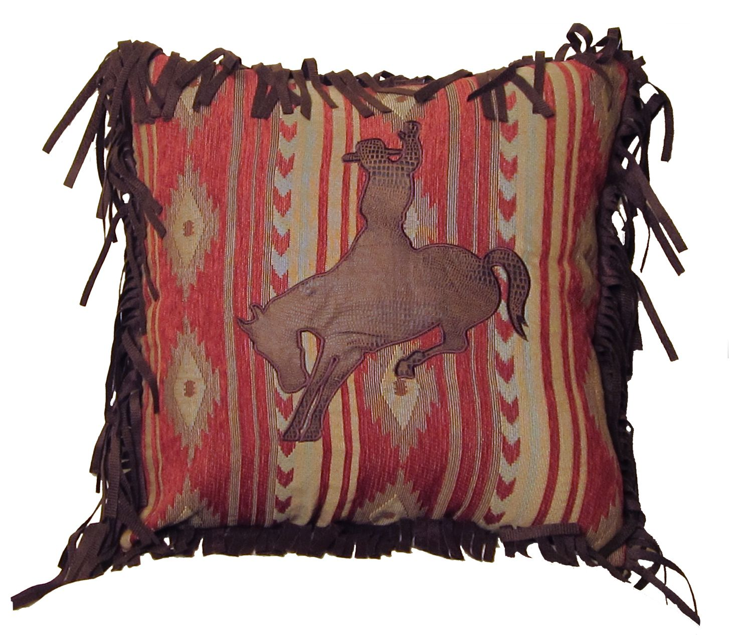 Navajo Bronc Southwestern Throw Pillow w/ Fringe