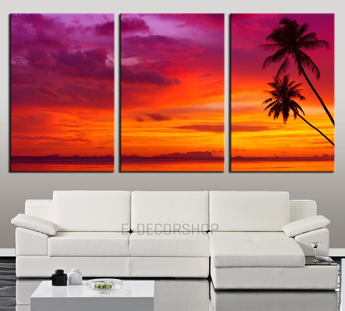 large wall art palm and sunset on the beach canvas print