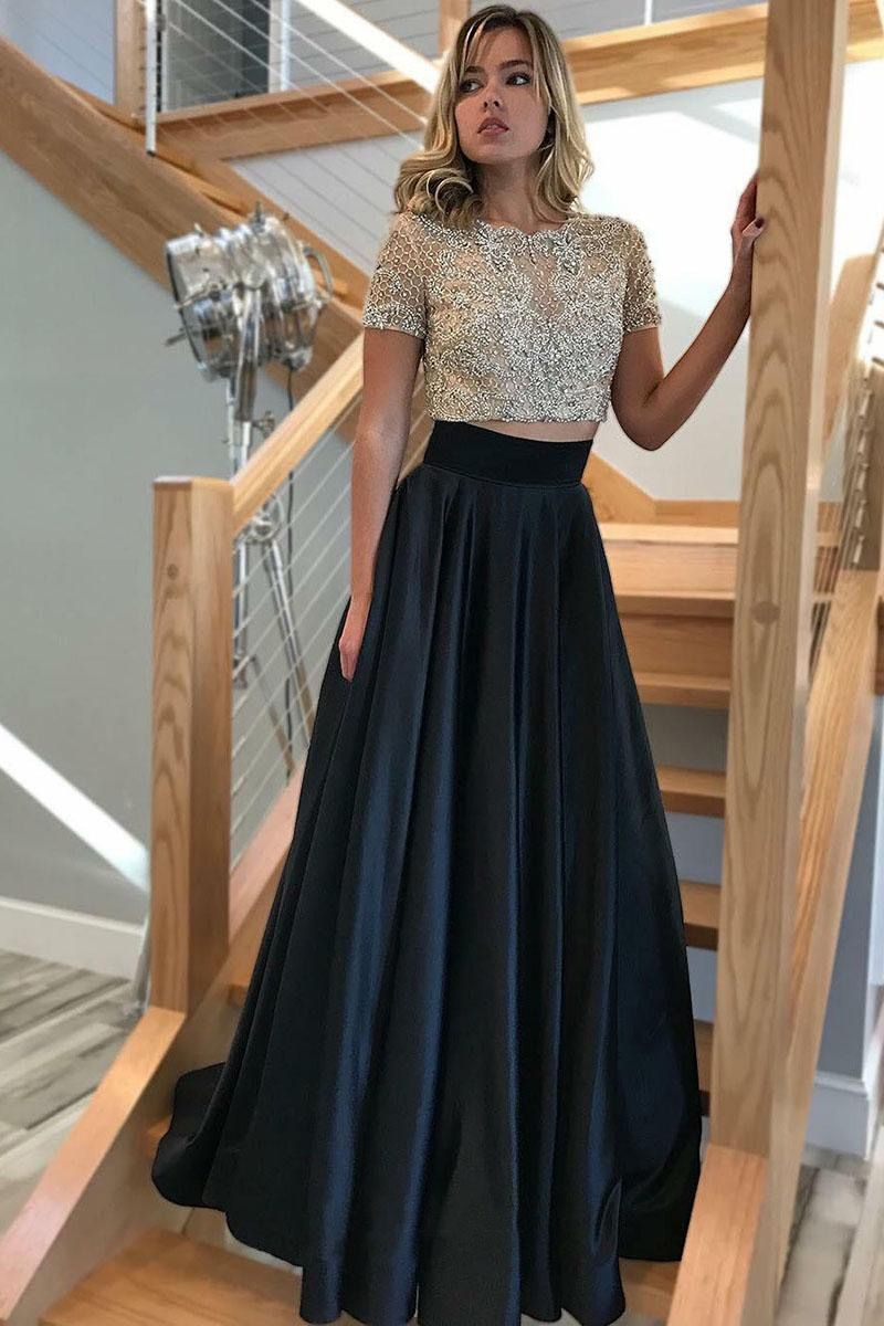 Two piece crew short sleeves sweep train black prom dress with lace