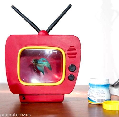 BETTA VISION FISH TELEVISION FISHBOWL Retro TV Unique LED ...