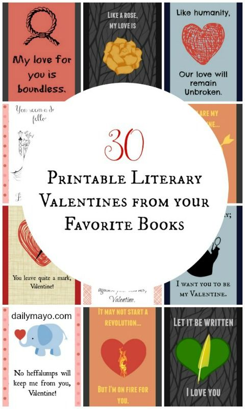 30 Adorable Literary Valentines For Book Lovers Valentines Valentines Printables Valentines Cards