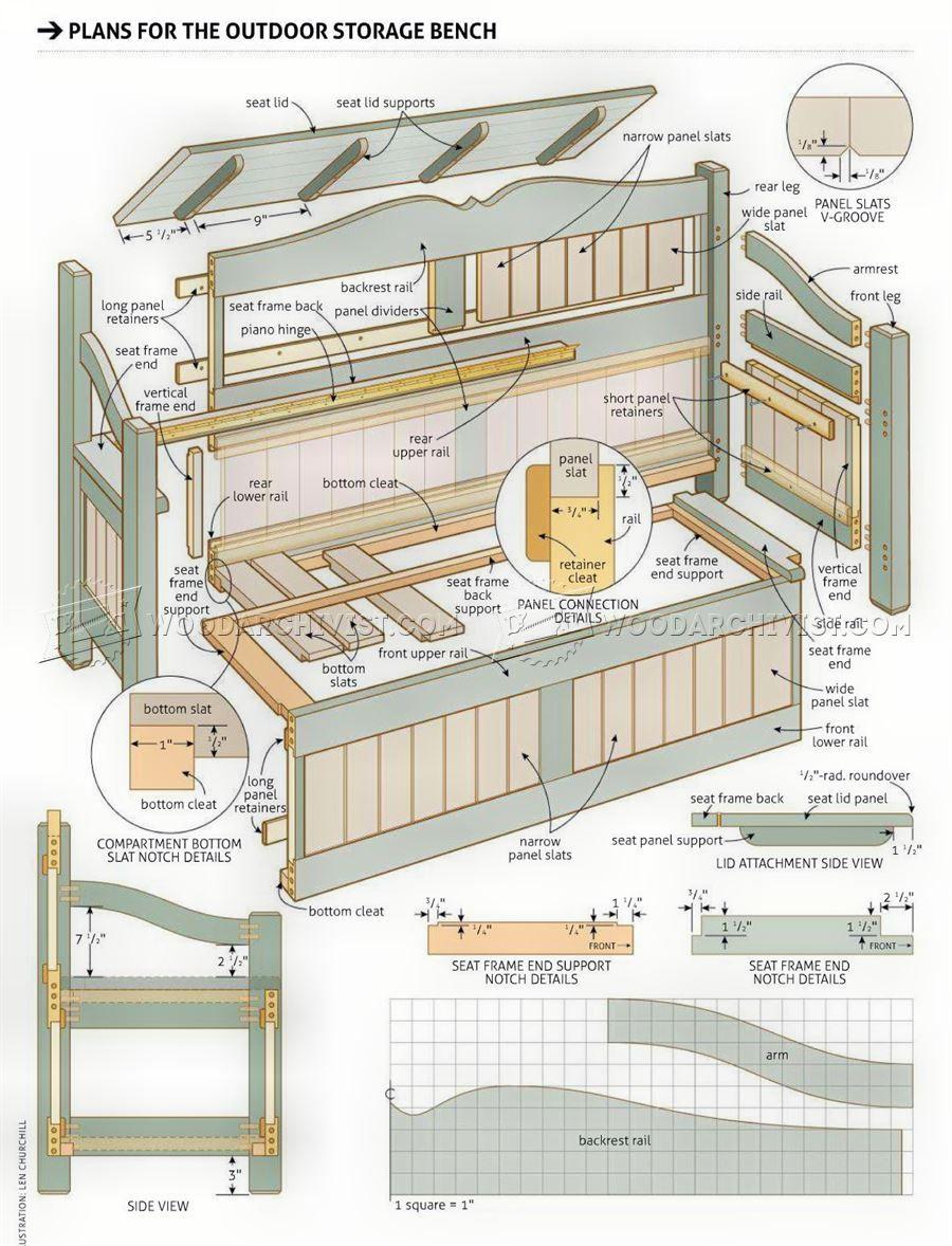 Wonderful #3084 Outdoor Storage Bench Plans   Furniture Plans Outdoor Furniture Plans