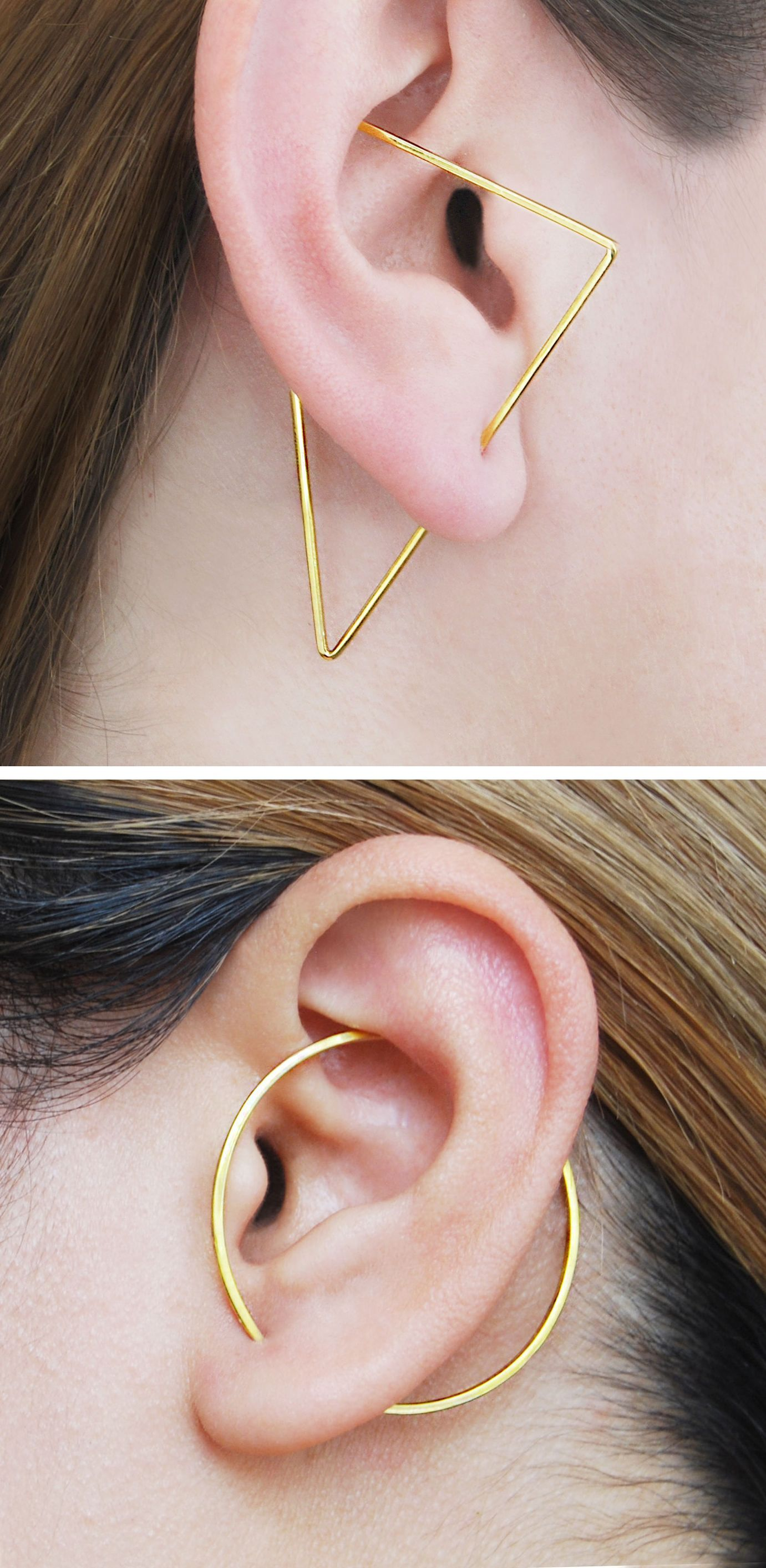 Non piercing nose pin  Gold Triangle Ear Climber Triangle Earrings Edgy Earrings