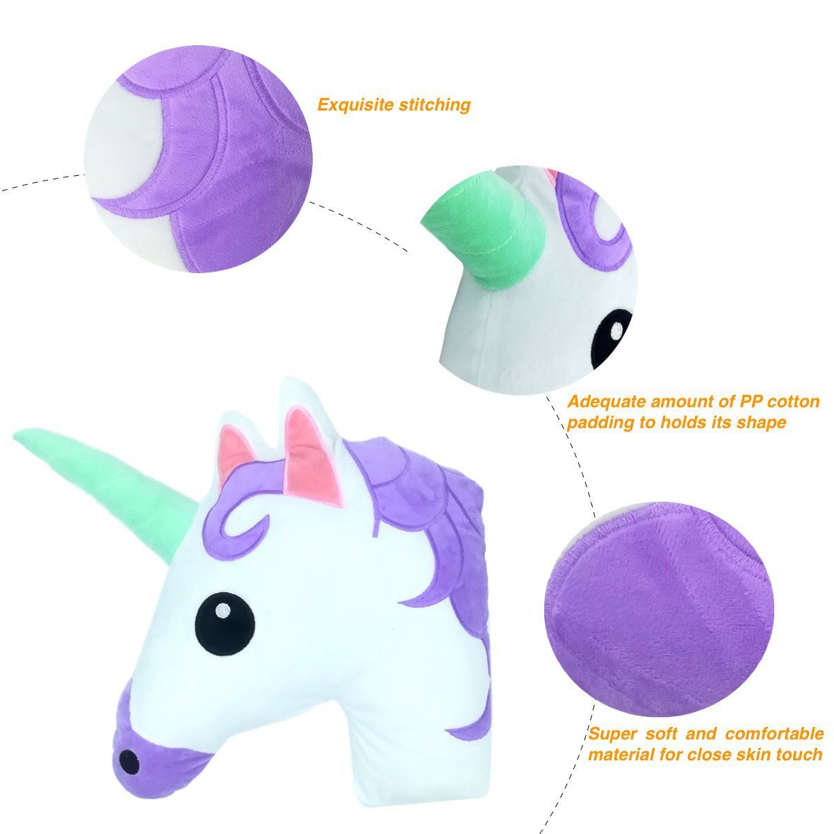 Unicorn throw pillow emoji plush pillow for couch home