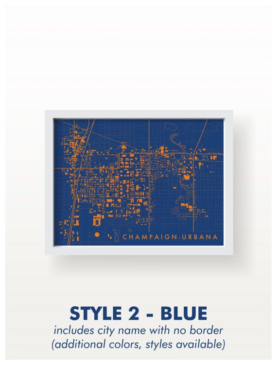 Champaign Urbana Illinois Map Print Graphic By Birdseyeprints