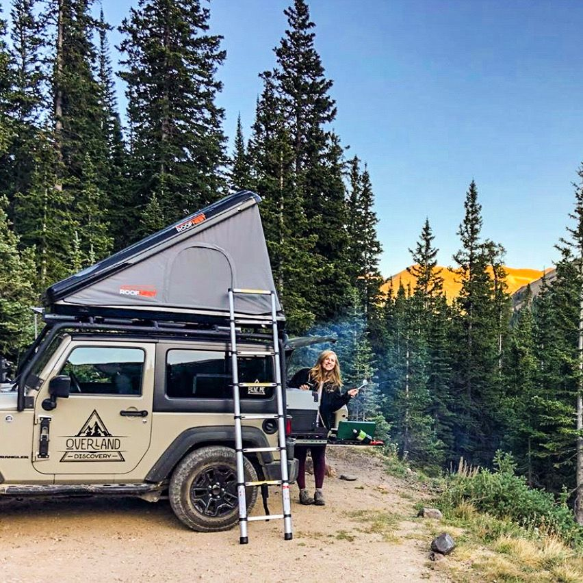 2 Door Jeep Camper Rental With Rooftop Tent And Overland Storage