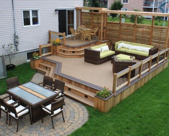 backyard patio ideas designs pictures with wooden deck design outdoor dining area and outdoor living space