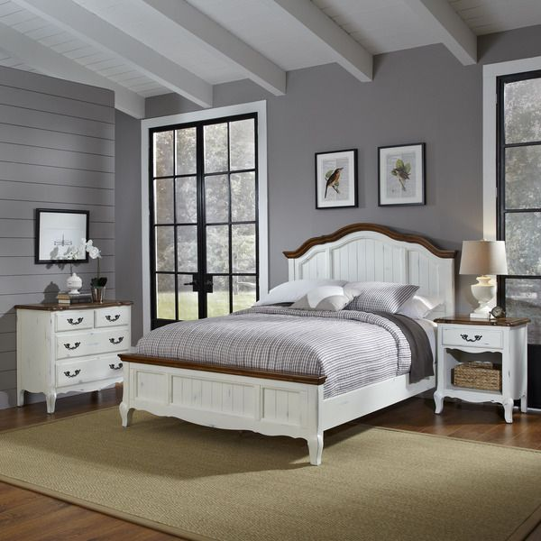 The French Countryside Queen Bed, Night Stand, and Chest - Overstock