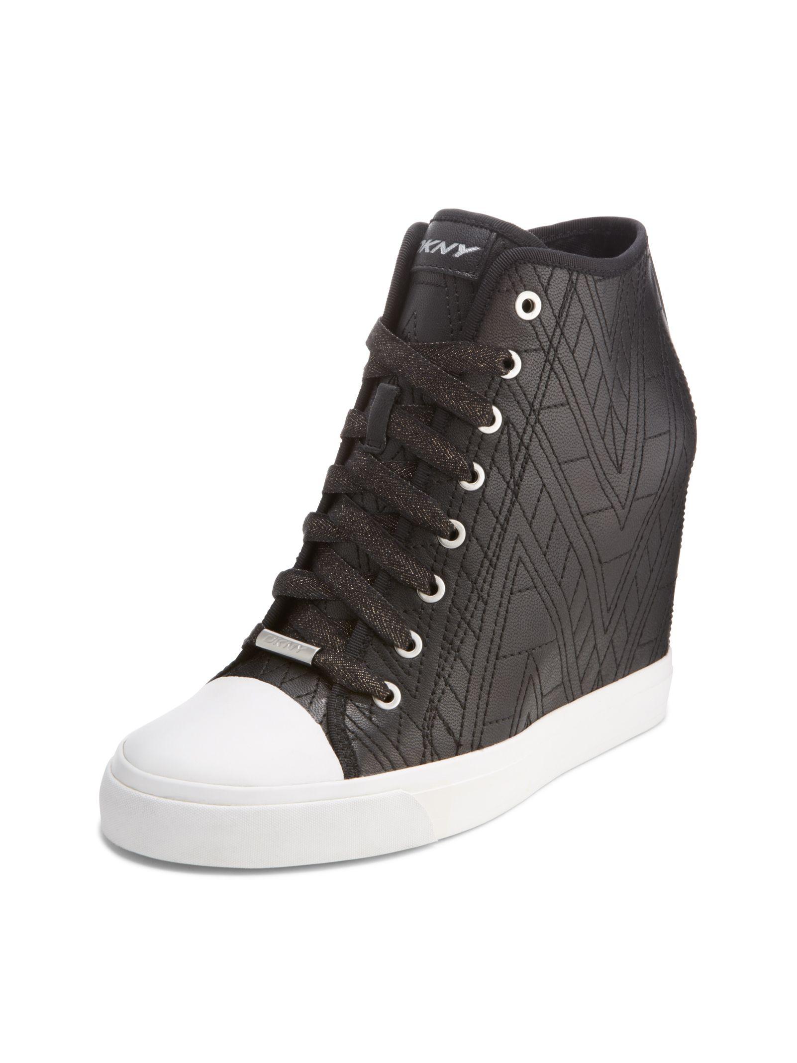 f4cd1655a84 Donna Karan · GROMMET ZIP WEDGE SNEAKER  175 Black Leather Sneakers