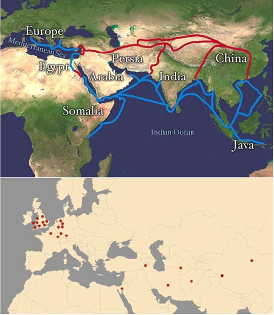 Main routes of the Silk Road (top) and known sites of the Three Hares motif between 600-1500 AD.