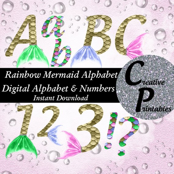Mermaid Alphabet Instant Download Digital Letters And Numbers