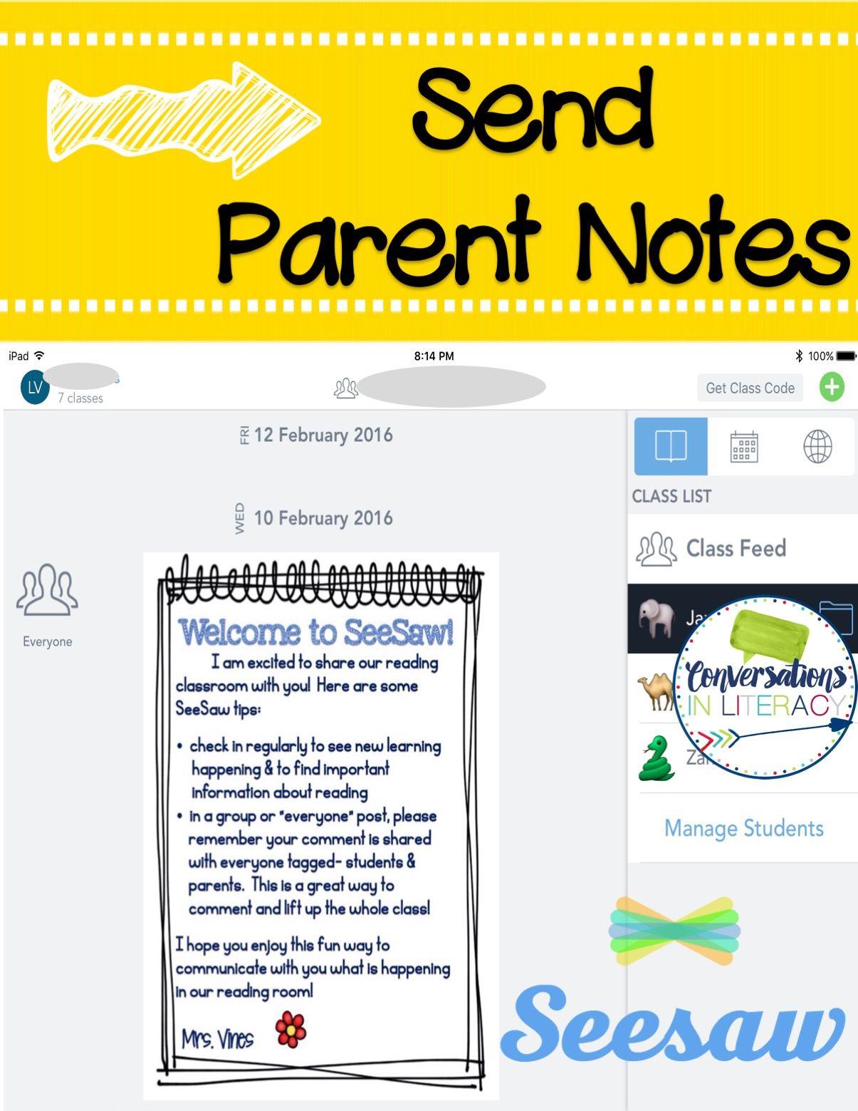 Easiest Parent Communication Ever! Seesaw app, Parent