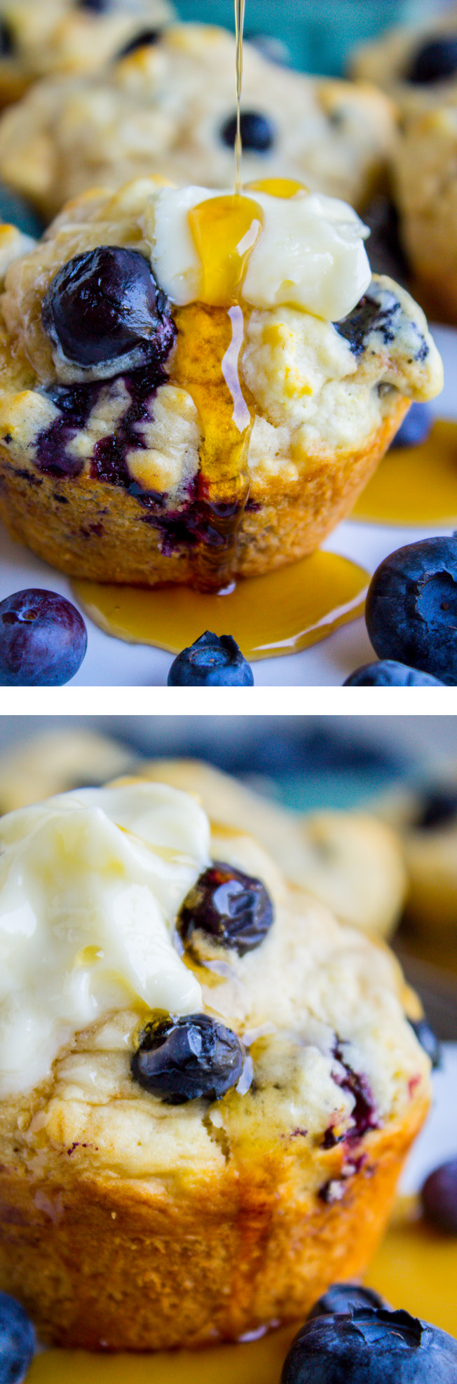Blueberry Buttermilk Pancake Muffins with Maple Syrup in ...