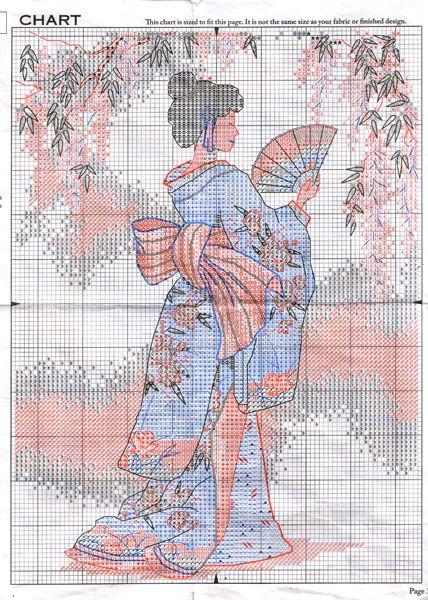 point de croix geisha à l'éventail - cross stitch geisha with fan