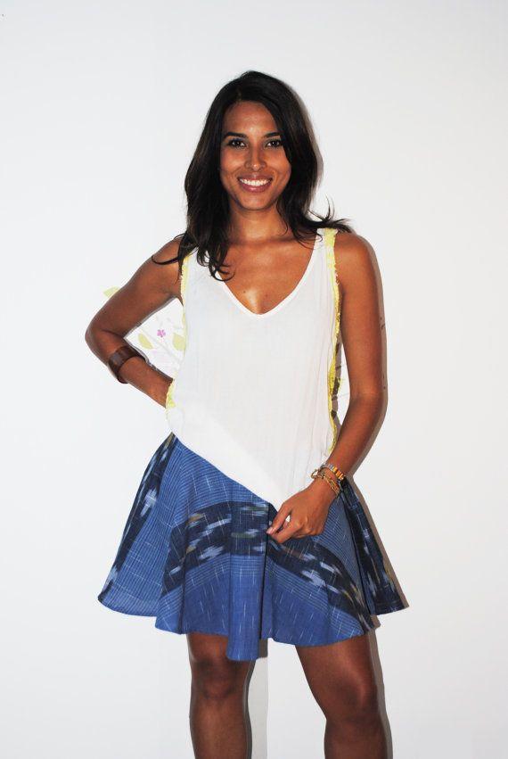 Tribal Circle Blue Cotton Skirt by Navaiyara on Etsy, €15.00