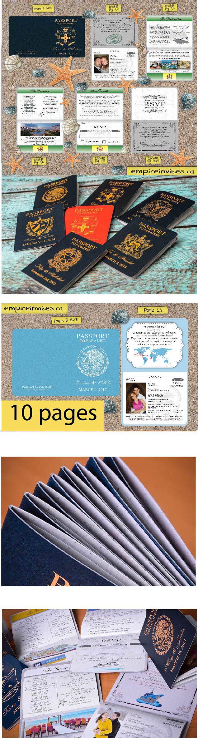 Custom Destination passport wedding invitations Canada | Passport ...