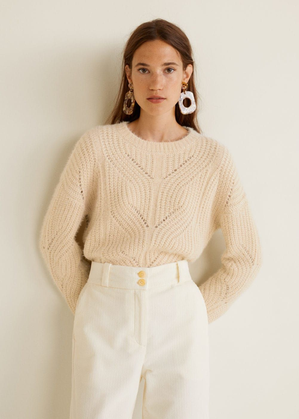 01fc8a0625 Thick knitted fabric Knitted braided fabric Textured fabric Openwork  details Rounded neck Long sleeve Cable knit finish