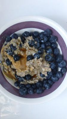 Crock-pot Steel Cut Oats with Peanut Butter & Blueberries