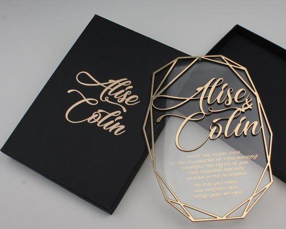 Acrylic Clear Invitation, Geometric Wedding Invitations, Transparent Invitations, Gold Foil Printed