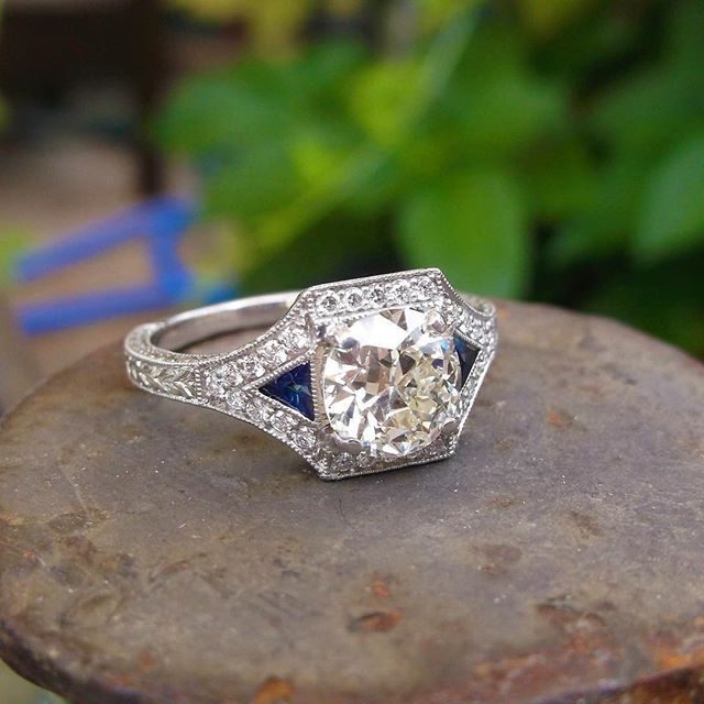 Gorgeous 1.23 carat Old European cut diamond set in a beautiful diamond, sapphire and platinum mounting #waltonsjewelry #forsaleatwaltons #oldeuropeancut #diamond #sapphire #engagement #ring