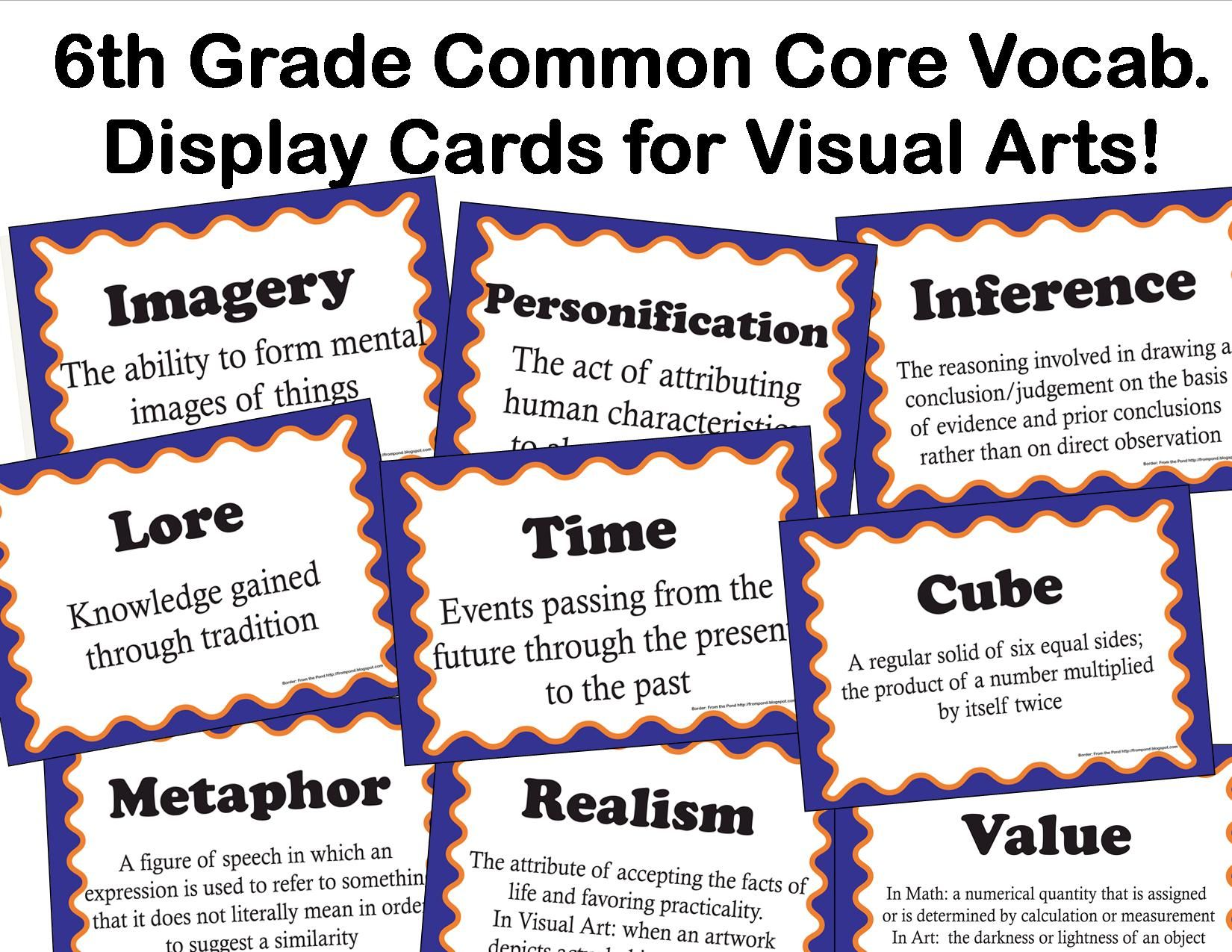 The smARTteacher Resource: Common Core Language Arts Vocabulary for Visual  Arts for 6th…   Common core language arts [ 1275 x 1650 Pixel ]