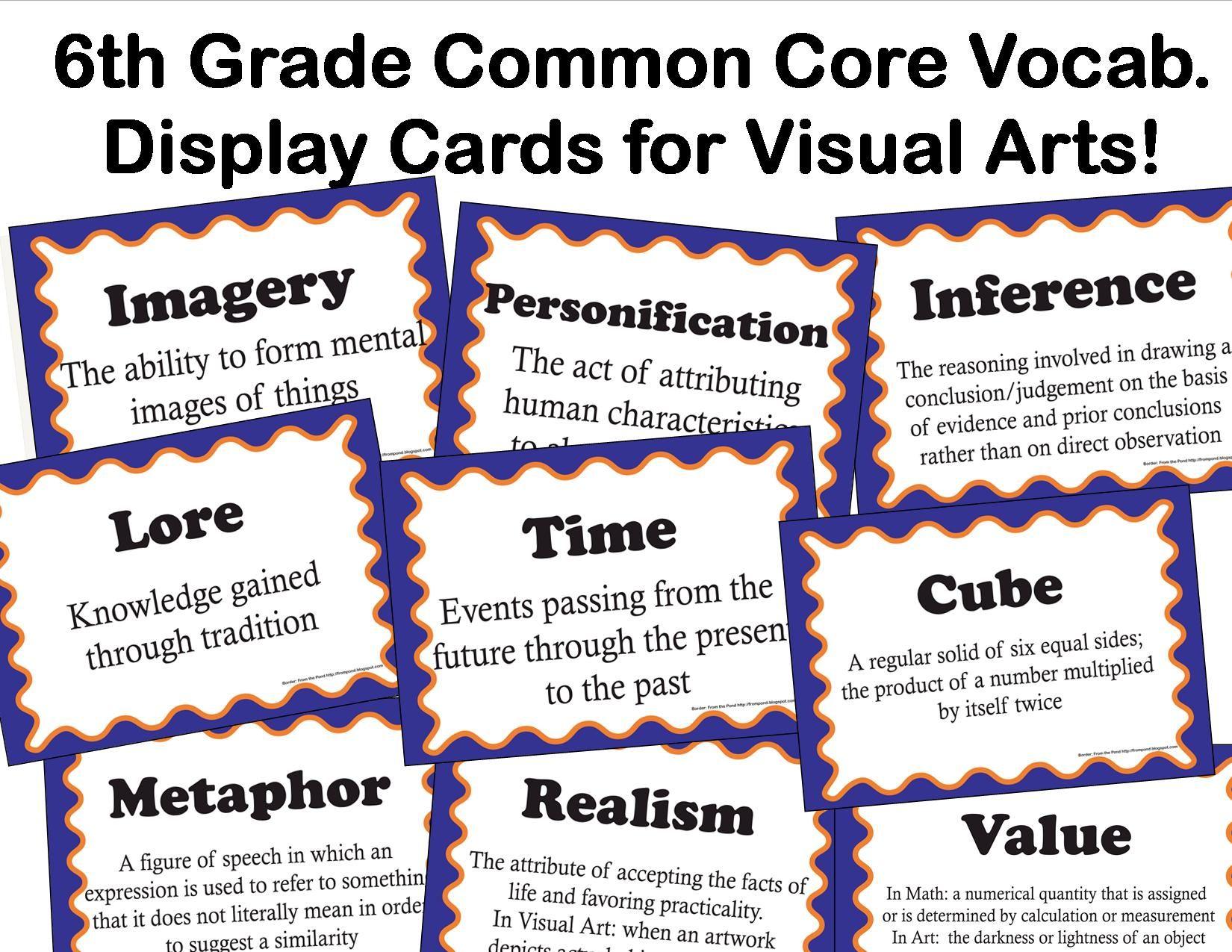 The smARTteacher Resource: Common Core Language Arts Vocabulary for Visual  Arts for 6th Grade