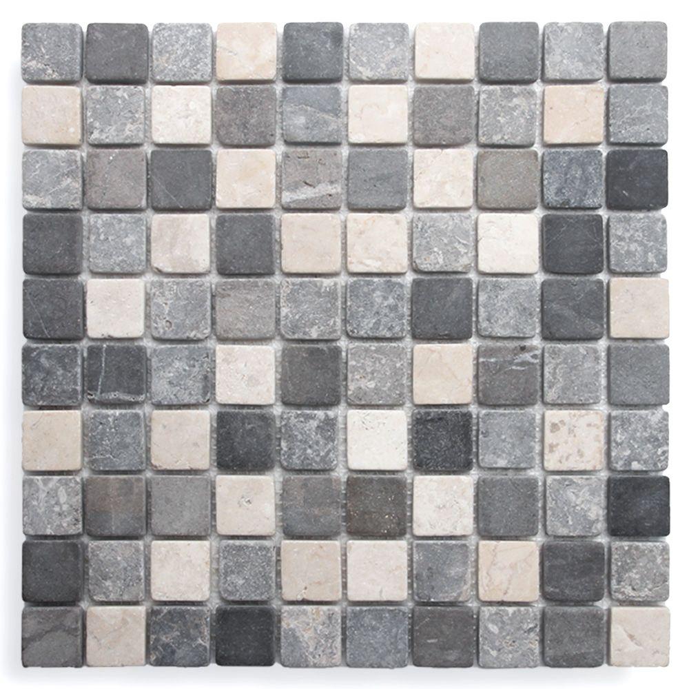 Portofino Marmor Mosaic 3x3 Cm Gra Svart Cream Mosaic Flooring Cream
