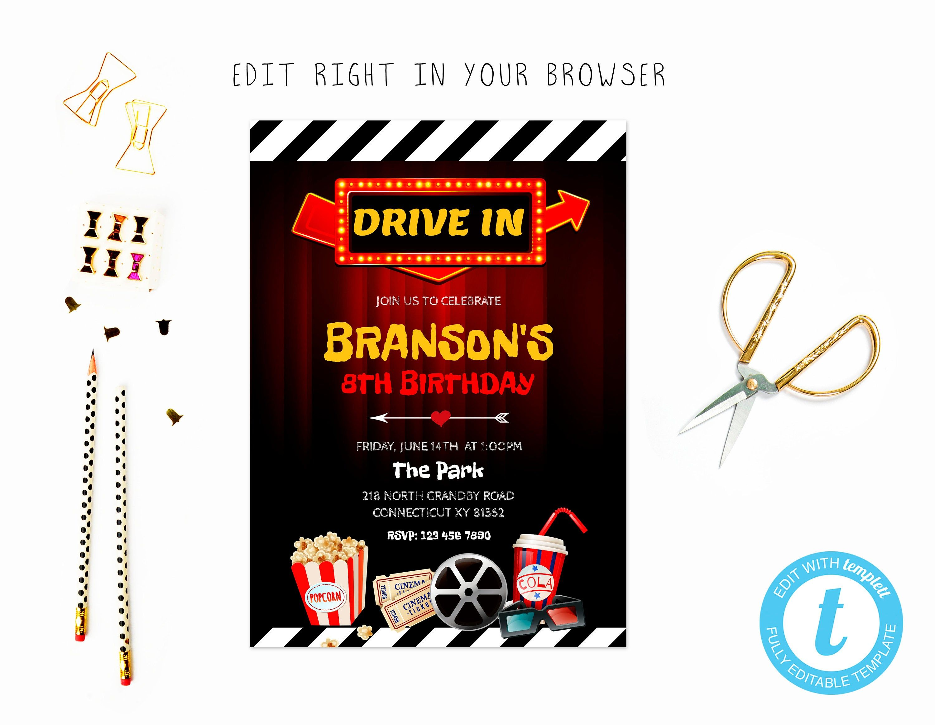 Cute drive in movie night theme party invite try before