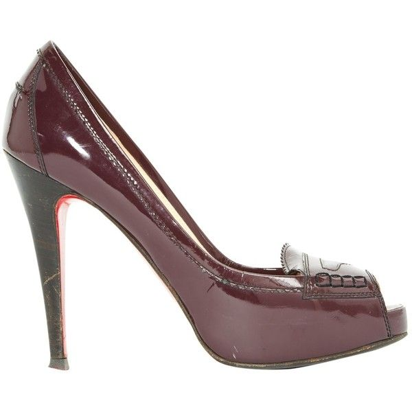 Pre-owned Christian Louboutin Patent Leather Heels ($211) ❤ liked on Polyvore featuring shoes, pumps, purple, christian louboutin, purple pumps, pre owned shoes, purple shoes and christian louboutin pumps