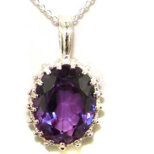 Luxury Ladies Solid 925 Sterling Silver Ornate 16x12mm Synthetic Alexandrite Pendant Necklace - Ideal for Christmas, Birthday, Anniversary o...