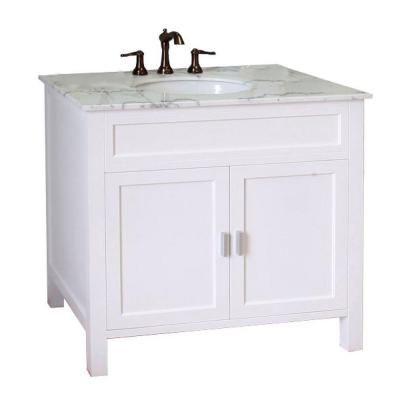 Bellaterra Home Elite 36 In W X 36 In H Single Vanity In White With Marble Vanity Top In White 600168 36w White Vanity Bathroom Single Sink Bathroom Vanity Bathroom Sink Vanity