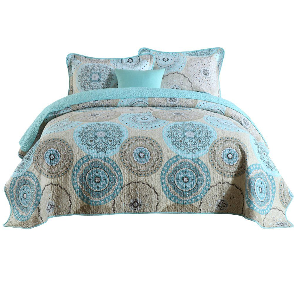 Halzander Quilts Queen Set 3 Piece Bedding Cotton Quilted Bedspread Sets Reversible Comforter Cover Diy Home Accessories Quilted Bedspreads Small Bedroom Decor