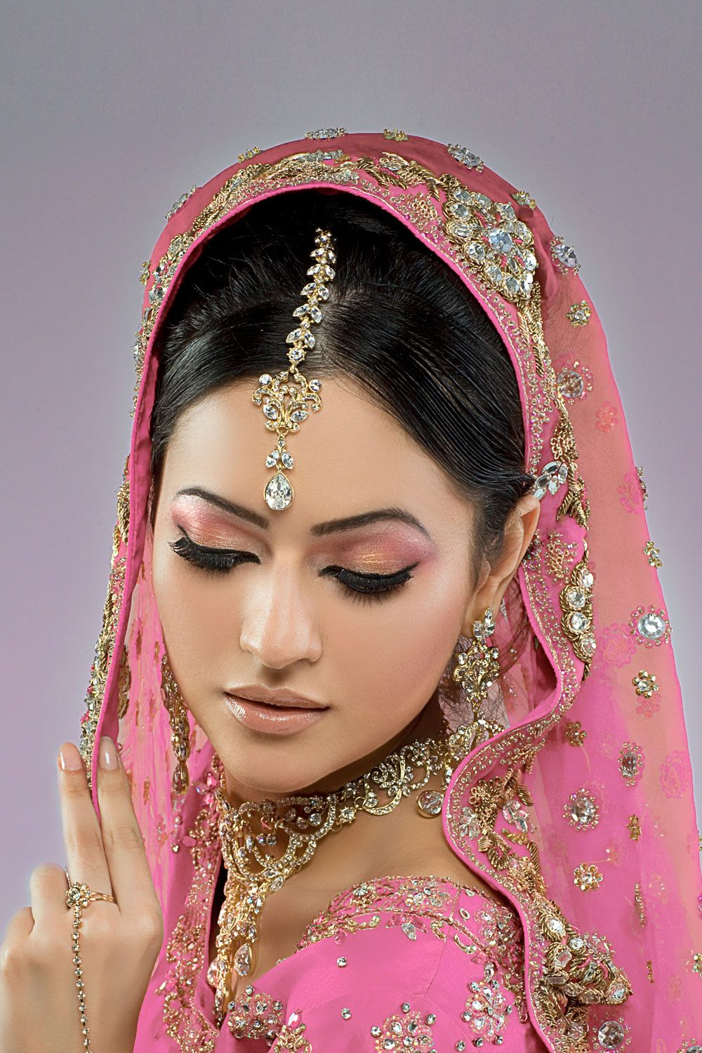 Traditional Indian Wedding makeup. Love the pinks and