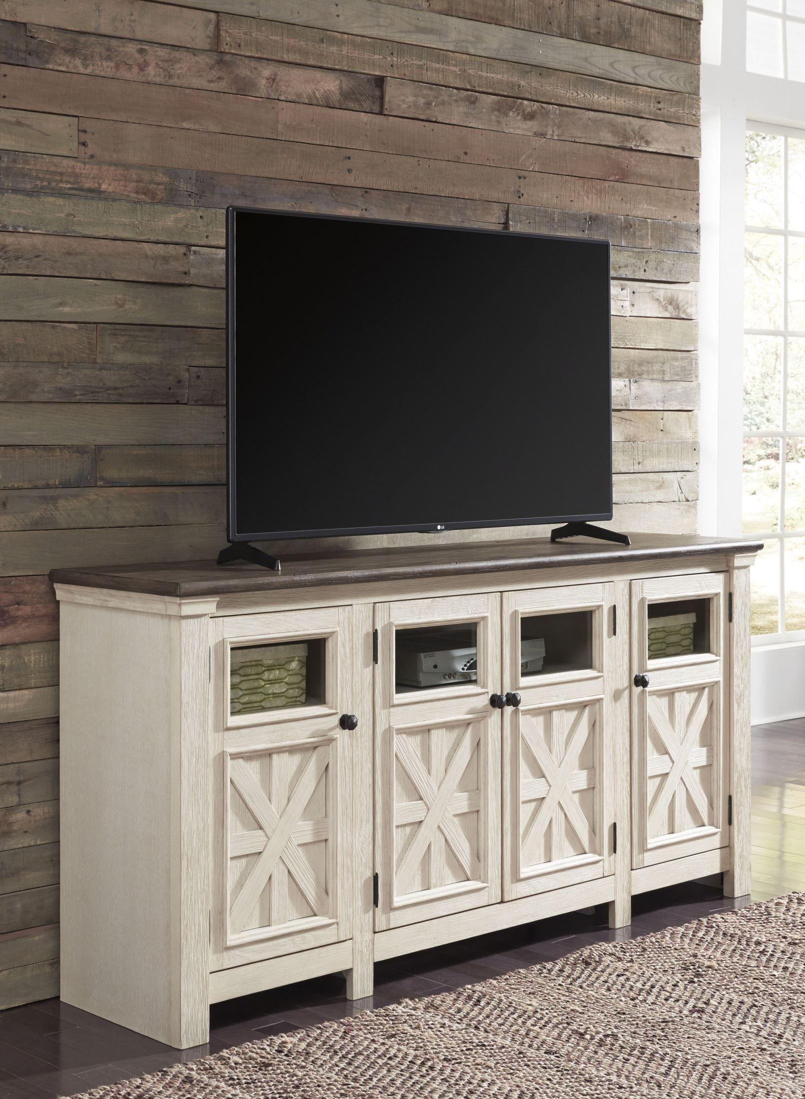Bolanburg weathered gray extra large tv stand 1 large tv