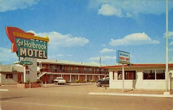 A 1950s Postcard Of Vintage Holbrook Motel On Route 66 In Arizona