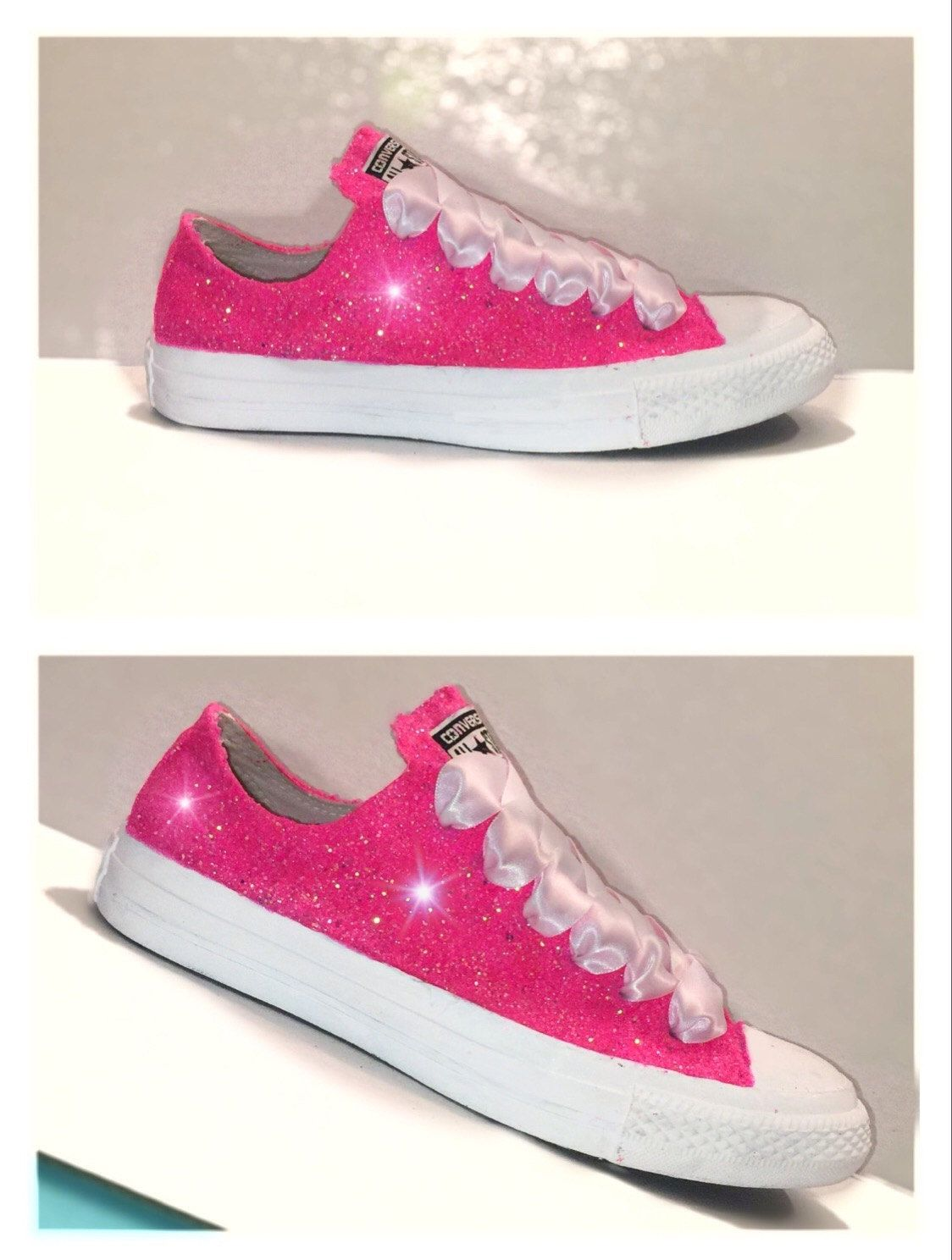 Women s Converse all star shoes handmade Sparkly glitter hot pink bright  chucks sneakers tennis wedding bride prom dance by CrystalCleatss on Etsy e62f373169