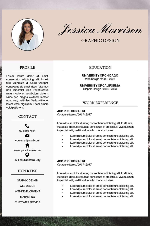 Resume Template Cv Cover Letter Jessica Morrison 188165 Resume Templates Design Bundles Resume Template Resume Template Word Resume Examples