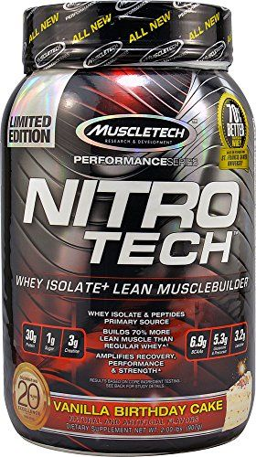 MuscleTech NitroTech Protein Powder Whey Isolate Lean MuscleBuilder Vanilla Birthday Cake 2 Lbs 907g Click Image To Review More Details