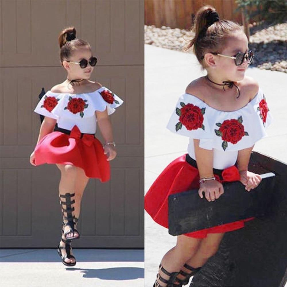 Toddler Baby Girls Off Shoulder Rose Embrodidery Ruffle Top Tutu Skirt Outfit Set Kid Summer Clothes