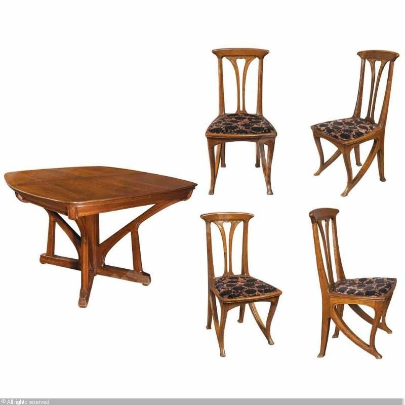 French Art Nouveau Extension Dining Table and Set of Four