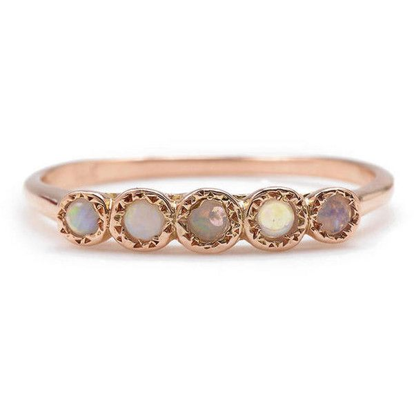 Opal Five Stone Ring - Rose Gold ($620) ❤ liked on Polyvore featuring jewelry, rings, accessories, rose, opal ring, pink gold ring, opal jewelry, opal band ring and stackable rings