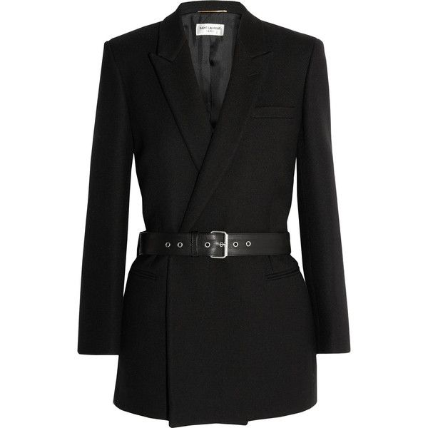 Saint Laurent Belted double-breasted wool-twill blazer featuring polyvore, fashion, clothing, outerwear, jackets, blazers, coats, coats & jackets, black, black wool blazer, slim fit double breasted blazer, slim blazer, black blazer jacket and black leather belt