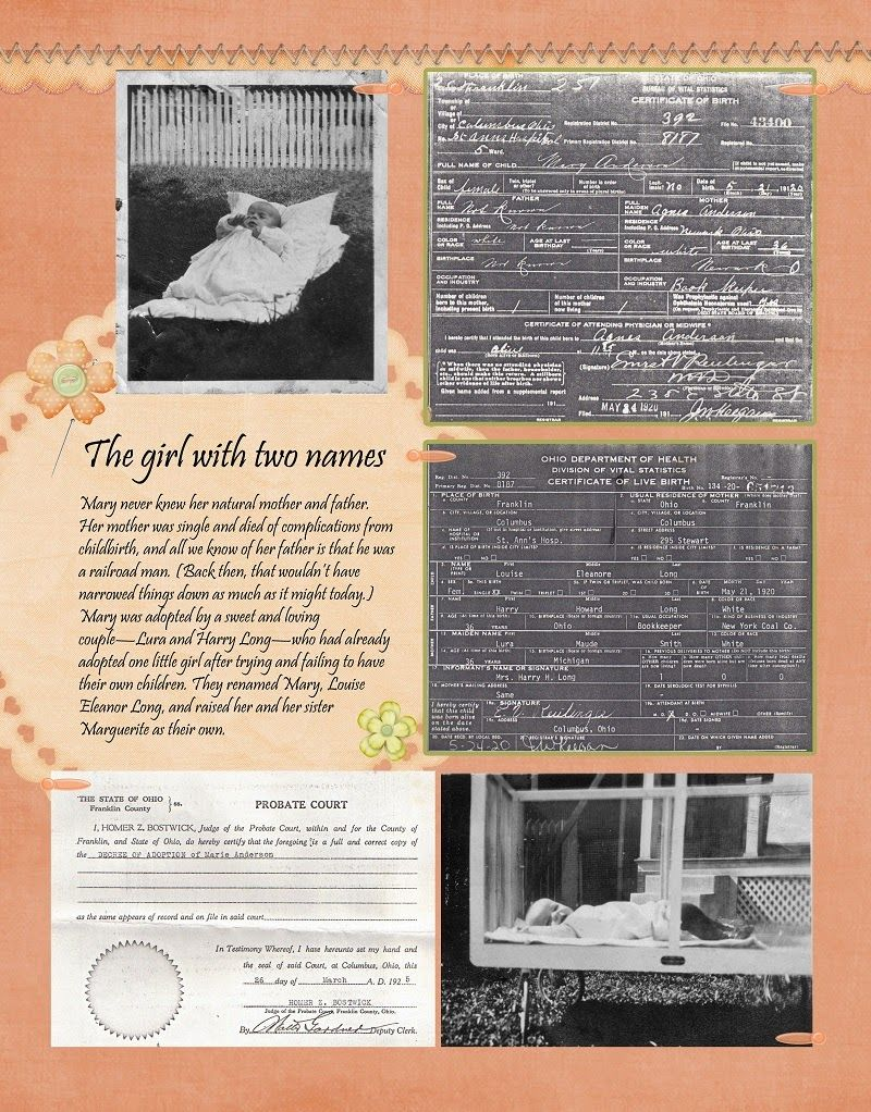 Scrapbook ideas names - Heritage Scrapbook Layout With Black White Photos And Documents Vintage Baby Layout