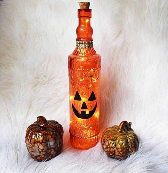 Wine Bottle Light, Lighted Pumpkin, Pumpkin Decoration